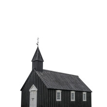The Black Church Of Budir (Iceland) Isolated On White Background