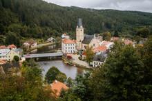 Small Ancient Town Rozmberk Nad Vltavou, South Bohemia, Czech Republic