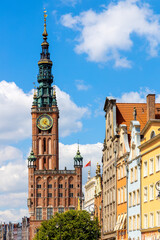 Gothic and Renaissance Old Town City Hall - Ratusz Glownego Miasta - at Long Market Dlugi Rynek main boulevard in old town city center of Gdansk, Poland
