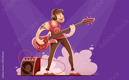 Fotografie, Tablou Rock Guitar player man in headphones, playing rock music with bass guitar on concert stage