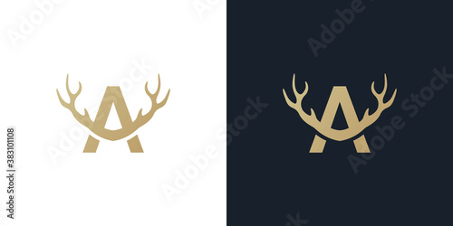 Fototapeta Letter A antler logo design . creative logo design . vector illustration obraz