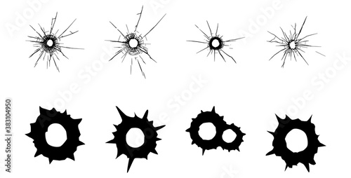 Fotografie, Tablou Bullet Marks. Bullet Shot Holes. Stock Vector