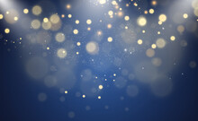 Brilliant Gold Dust Vector Shine. Glittering Shiny Ornaments For Background. Vector Illustration.