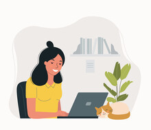 Young Woman Working At Her Office With Cat. Vector Flat Style Illustration