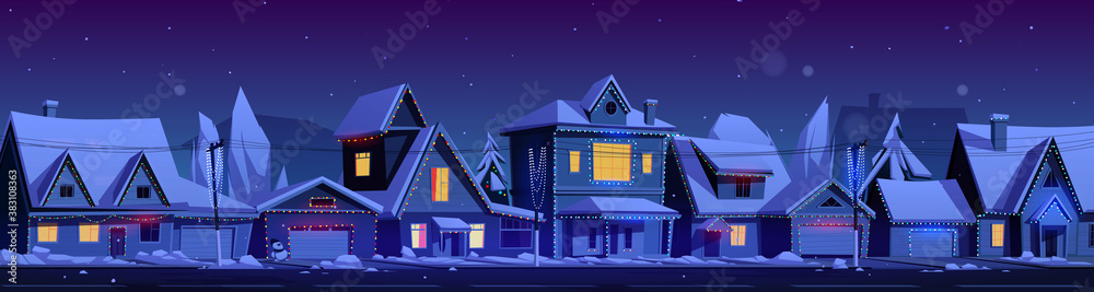 Fototapeta Residential houses with christmas decoration at night. Vector cartoon winter landscape with street in suburb district, cottages with snow on roofs and holiday garlands