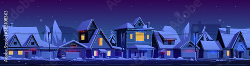 Residential houses with christmas decoration at night Fototapete
