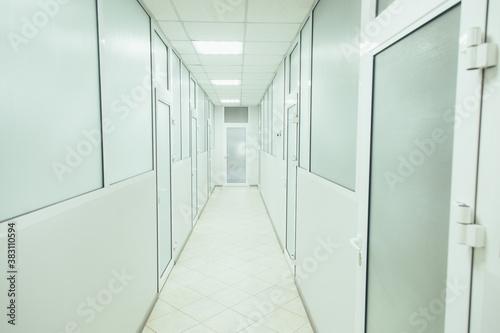 Fotografie, Obraz Modern laboratory corridor designed in white color