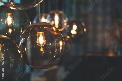 Fotografie, Obraz Beautiful and cosy luxury light lamp