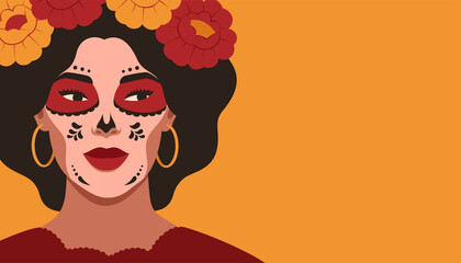 Day of the Dead, Dia de Los Muertos, banner with Mexican young woman looking away with sugar skull makeup. The festive horizontal card on yellow background