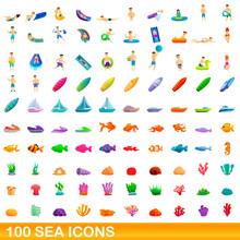 100 Sea Icons Set. Cartoon Ill...