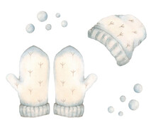 Winter Clothes. Set Of Pink Cap And Mittens. Hand-drawn Illustration Isolated On White Background