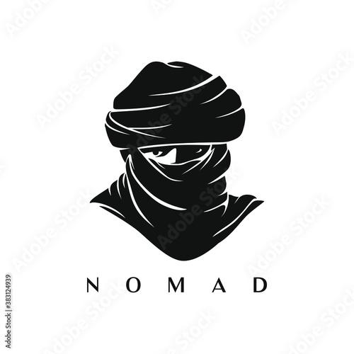 Photo illustration silhouette nomad logo vector