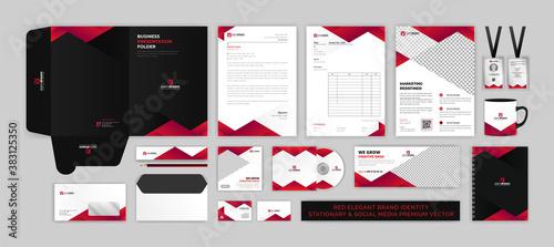Slika na platnu BRAND identity stationary & SOCIAL MEDIA modern Premium Vector design template s