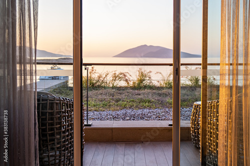 Hotel room terrace balcony with a sea view The window overlooking the ocean Fototapeta