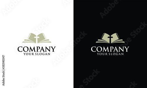 Fototapeta christian holy book vector icon logo design template