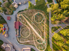 Aerial View Of The Roller Coaster In Gorky Park In Kharkov