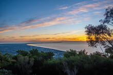 Sunset Over Mornington Peninsula Viewed From Arthurs Seat In Melbourne, Australia