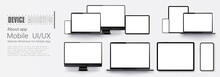 Laptop Screen And Smartphone. Screen Computer Monitor. Technology Concept. Set Of Device Mock Up Separate Groups And Layers.  For Use In Mockups And Presentations. Vector Illustration