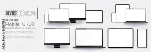 Fototapeta Laptop screen and smartphone