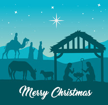 Merry Christmas Nativity Mary Joseph Baby And Three Wise Men Design, Winter Season And Decoration Theme Vector Illustration
