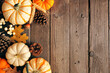 canvas print picture Natural fall side border of pumpkins and leaves. Top view on a rustic dark wood background with copy space.