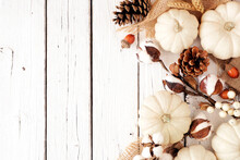 Fall Side Border Of White Pumpkins And Brown Autumn Decor. Overhead View On A White Wood Background With Copy Space.