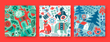 Christmas Animal Folk Icon Seamless Pattern Set