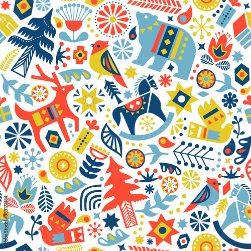 Christmas scandinavian folk icon seamless pattern