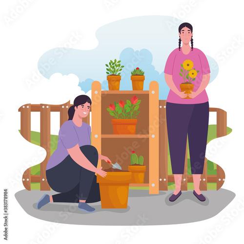 Fototapeta Gardening women with plants design, garden planting and nature theme Vector illustration obraz na płótnie