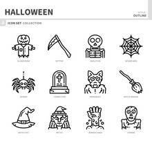 Halloween Icon Set,outline Style,vector And Illustration