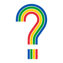Rainbow Colored Question Mark Isolated On White, Vector Illustration