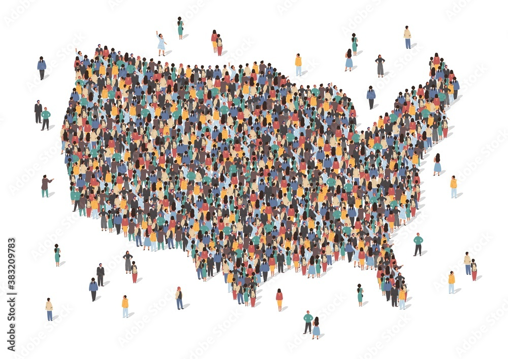 Fototapeta USA map made of many people, large crowd shape. Group of people stay in us country map formation. Immigration, election, multicultural diversity population concept. Vector isometric illustration.