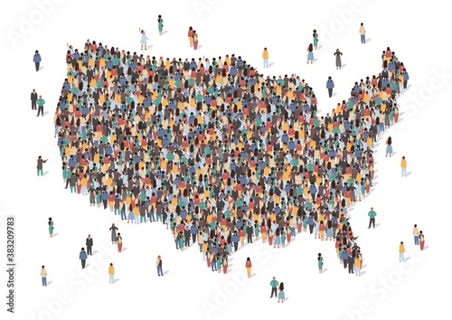 Obraz USA map made of many people, large crowd shape. Group of people stay in us country map formation. Immigration, election, multicultural diversity population concept. Vector isometric illustration. - fototapety do salonu