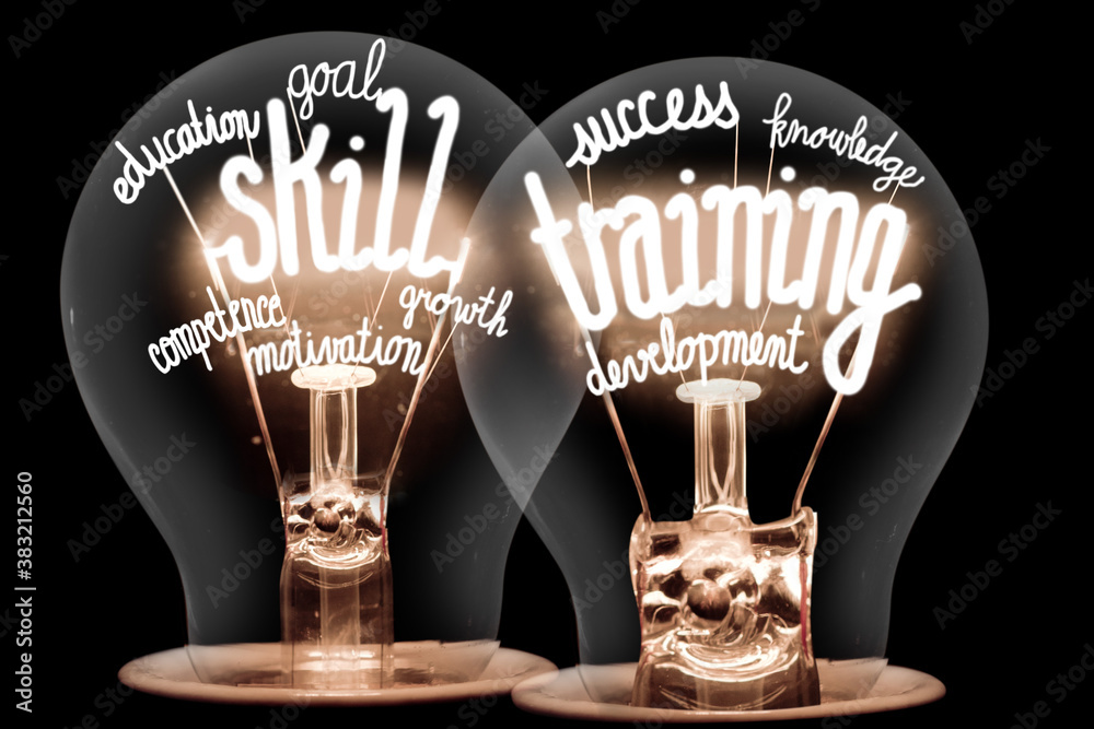 Fototapeta Light Bulbs with Skill Training Concept