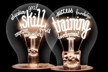 Light Bulbs With Skill Training Concept