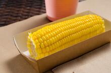 An Ear Of Boiled Corn In An Ec...