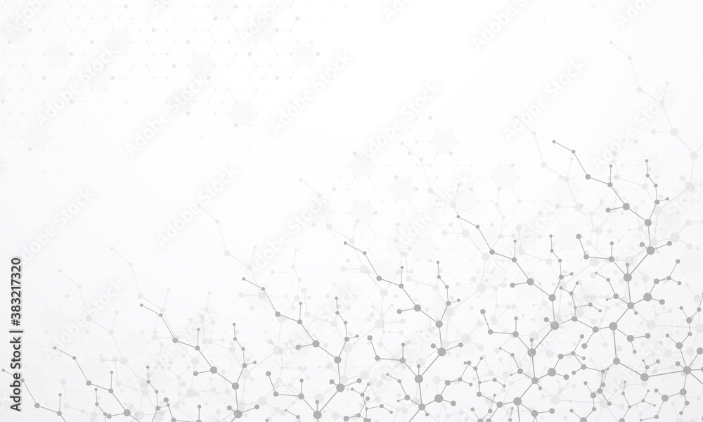 Fototapeta Molecular structure background. Science template wallpaper or banner with a DNA molecules. Asbtract scientific molecule background. Wave flow, innovation pattern. Vector illustration.