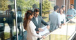 Leinwandbild Motiv Business people talking nad brainstorming in break outdoor