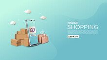 Online Shopping Background, Illustrated With A Mobile Phone And A 3d Item Box.