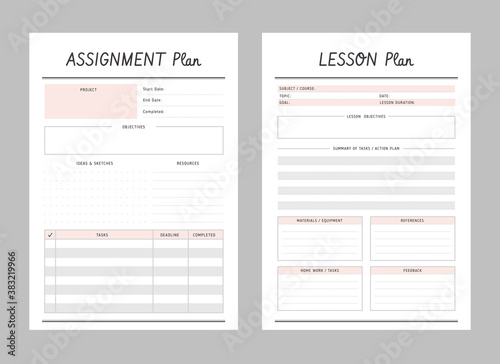 Set of assignment and lesson planner sheets Fototapeta