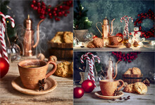 Collage Mix Set Of Christmas Treat With Hot Coffee Cookies And Candies. Festive Card With Snowman And New Year Decoration On Wooden Board In Rustic Style.