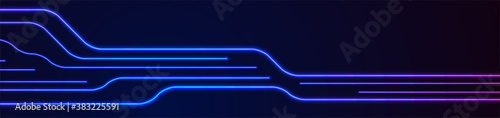 Obraz na plátne Glowing blue purple neon circuit board lines abstract banner design