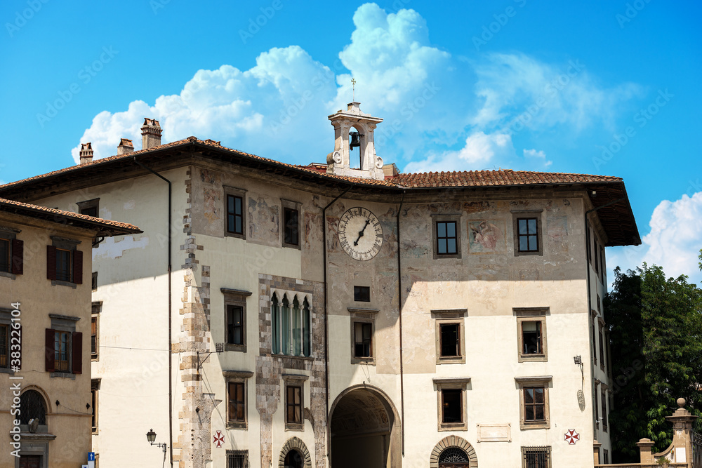 Medieval Palace of the Clock (Palazzo dell'Orologio) in Pisa downtown, Piazza dei Cavalieri (Square of the Knights), Tuscany, Italy, Europe.