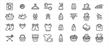 Simple Set Of Laundry Clothes Washing Clean And Dry Service Related Vector Icon Graphic Design. Contains Such Icons As Hanging Clothes, Washing Machine, Ironing And More