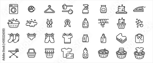 Fotografie, Obraz Simple Set of laundry clothes washing clean and dry service Related Vector icon graphic design