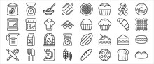 Simple Set Of Bakery Kitchen Cooking Related Vector Icon Graphic Design Template. Contains Such Icons As Baking, Bread, Pudding, Kitchen Weight Scale, And Pizza