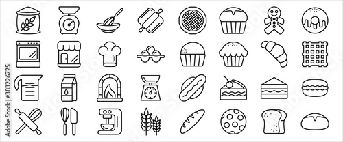 Fotografie, Obraz Simple Set of bakery kitchen cooking Related Vector icon graphic design template