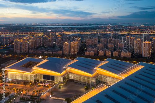 Slika na platnu Illuminated residence buildings at night in Suzhou, China.