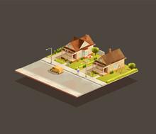Set Of Suburbian Family Houses On Street