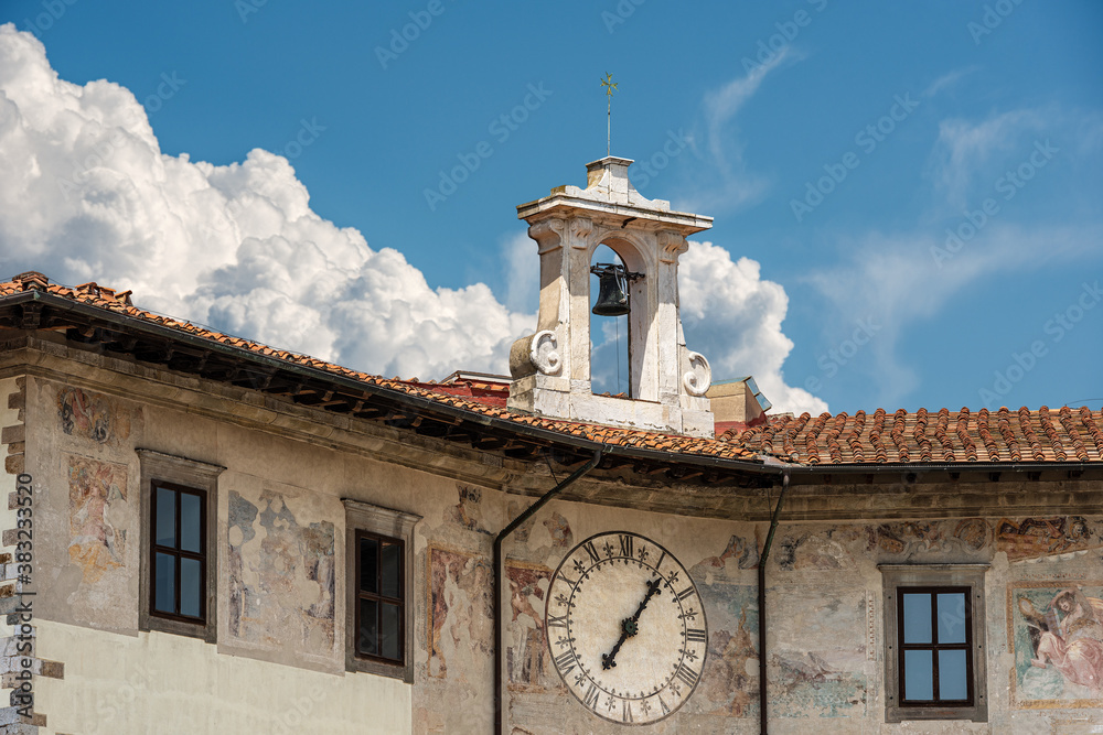 Closeup of the Medieval Palace of the Clock (Palazzo dell'Orologio) in Pisa downtown, Piazza dei Cavalieri (Square of the Knights), Tuscany, Italy, Europe.